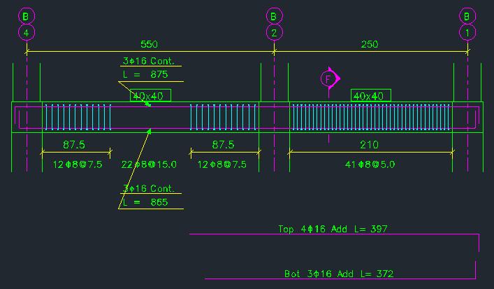 نمایش نمای جانبی تیر و نمایش جداگانه میلگردهای تقویتی تیر