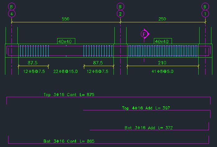 نمایش نمای جانبی تیر و نمایش جداگانه میلگردهای سراسری و تقویتی تیر