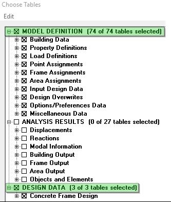 انتخاب جدولهای مدل و دیزاین